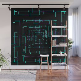 Banners with blue dark electronic cards. Wall Mural