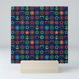 Marine abstract ornament Mini Art Print