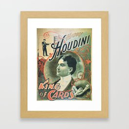 Houdini, king of cards, vintage poster Framed Art Print