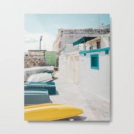 Coastal Fishing Village Metal Print