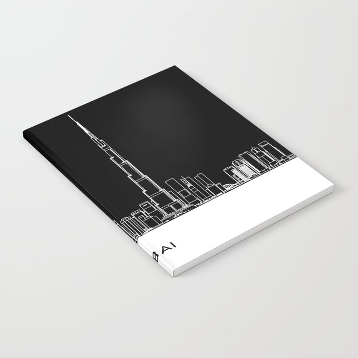 Dubai Skyline - Black Base Notebook