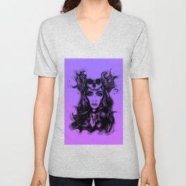 Skull Girl On Violet Unisex V-Neck