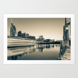 Riverview Skyline of Nashville Tennessee - Sepia Edition Art Print