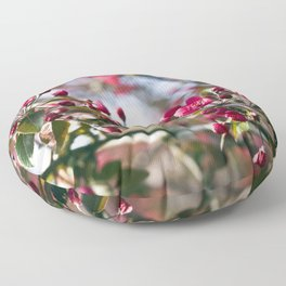 RED APPLE BLOSSOMS Floor Pillow