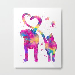 Cat and Dog With Heart Tails Watercolor Painting 2 Metal Print