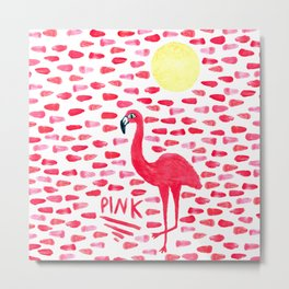 Pink Pretty Flamingo Pattern Metal Print