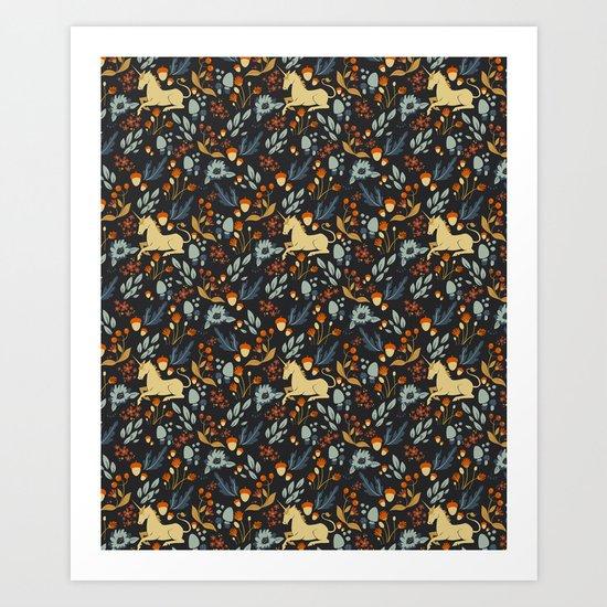 Unicorn autumn forest pattern by szisszm0k