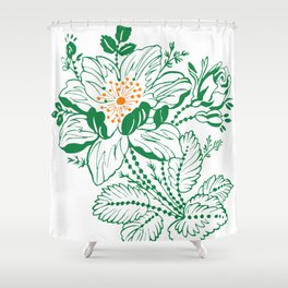 Japanese Style Green with Orange Flowers Shower Curtain