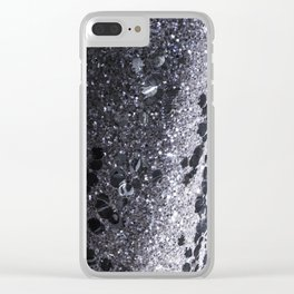 Black and Gray Glitter Bomb Clear iPhone Case