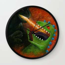 Godzilla vs Reptar Wall Clock