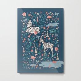 Wild Zebras in a Blue Garden Metal Print