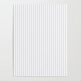 Soft Grey Mattress Ticking Narrow Striped Pattern - Fall Fashion 2018 Poster