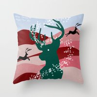 merry christmas Throw Pillows featuring merry christmas by mark ashkenazi