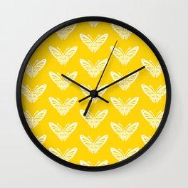 Butterfly Pattern Yellow Wall Clock