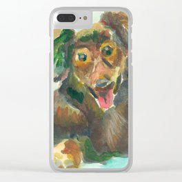 Jumpy Puppy Clear iPhone Case