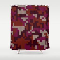 Red Pixel Camouflage pattern Shower Curtain