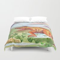 t rex Duvet Covers featuring T-Rex by Catherine Holcombe