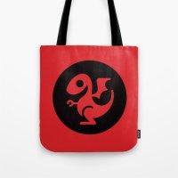 daenerys targaryen Tote Bags featuring Modern Dragon Sigil by Arne AKA Ratscape