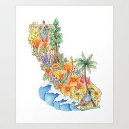 California - Floral Watercolor - State of California - West Coast Art - California Poppies - Ocean Art Print