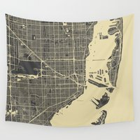 miami Wall Tapestries featuring Miami Map by Map Map Maps