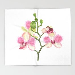 Pink Orchid Throw Blanket