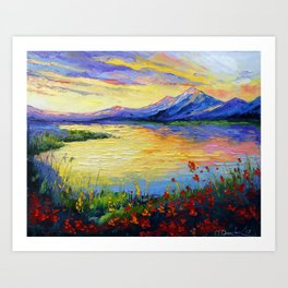 Flowers on the shore of the lake Art Print