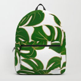 Modern hand painted green faux gold monster leaves Backpack