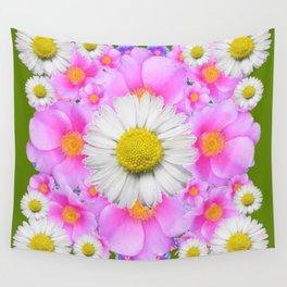 Avocado Color Shasta Daisies Rose Pattern Garden Wall Tapestry