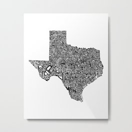 Typographic Texas Metal Print