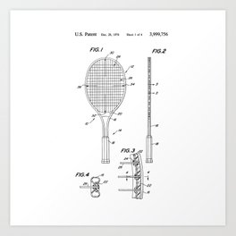 Tennis Racket Patent Art Print