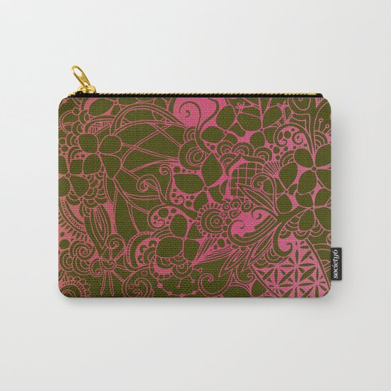 Olive square, pink floral doodle, zentangle inspired art Carry-All Pouch