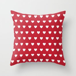 Polka Dot Hearts - red and white Throw Pillow