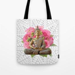 Buddha Rose Silver Mandala Tote Bag