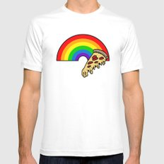 pizza rainbow MEDIUM Mens Fitted Tee White