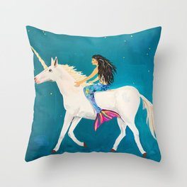 To the Land of Mermaids and Unicorns Throw Pillow