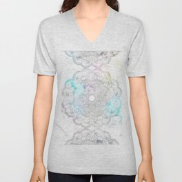 abstract gray and turquoise mandala design in minimal style Unisex V-Neck