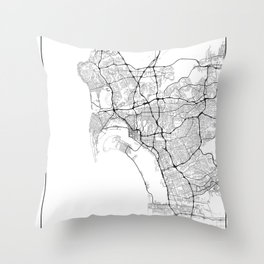 Minimal City Maps - Map Of San Diego, California, United States Throw Pillow