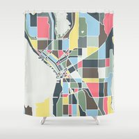 seattle Shower Curtains featuring Seattle. by Studio Tesouro