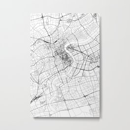 Shanghai White Map Metal Print