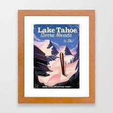 Lake Tahoe vintage ski travel poster Framed Art Print