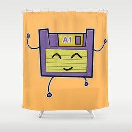 A1 Cute Dancing Floppy Disk Shower Curtain