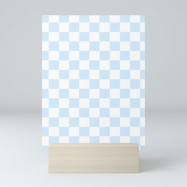 Baby Blue Checkered Phone Case Mini Art Print