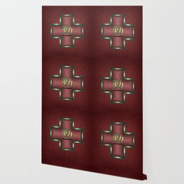 """Diligence"" Chinese Calligraphy on Celtic Cross Wallpaper"