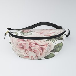 Pink Garden Roses Watercolor Fanny Pack
