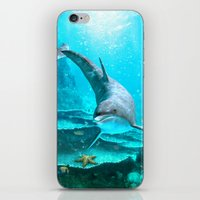 dolphin iPhone & iPod Skins featuring Dolphin by Simone Gatterwe