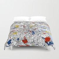 mondrian Duvet Covers featuring Dublin mondrian by Mondrian Maps