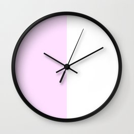 White and Pastel Violet Vertical Halves Wall Clock