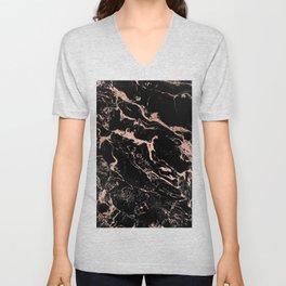 Modern girly faux rose gold foil black marble Unisex V-Neck