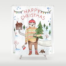Sloth Christmas Shower Curtain