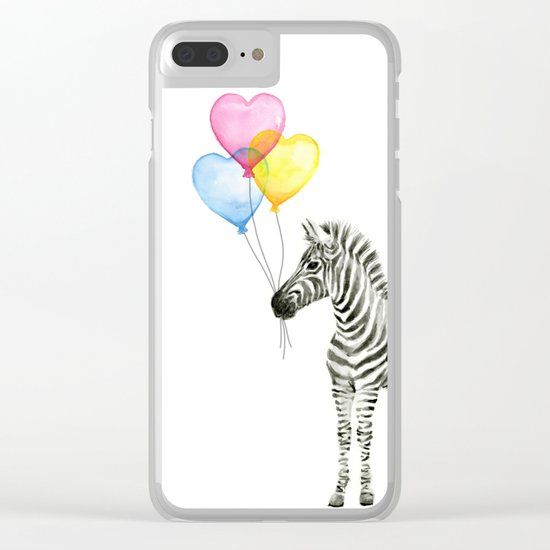Zebra Watercolor With Heart Shaped Balloons Whimsical Baby Animals Clear iPhone Case